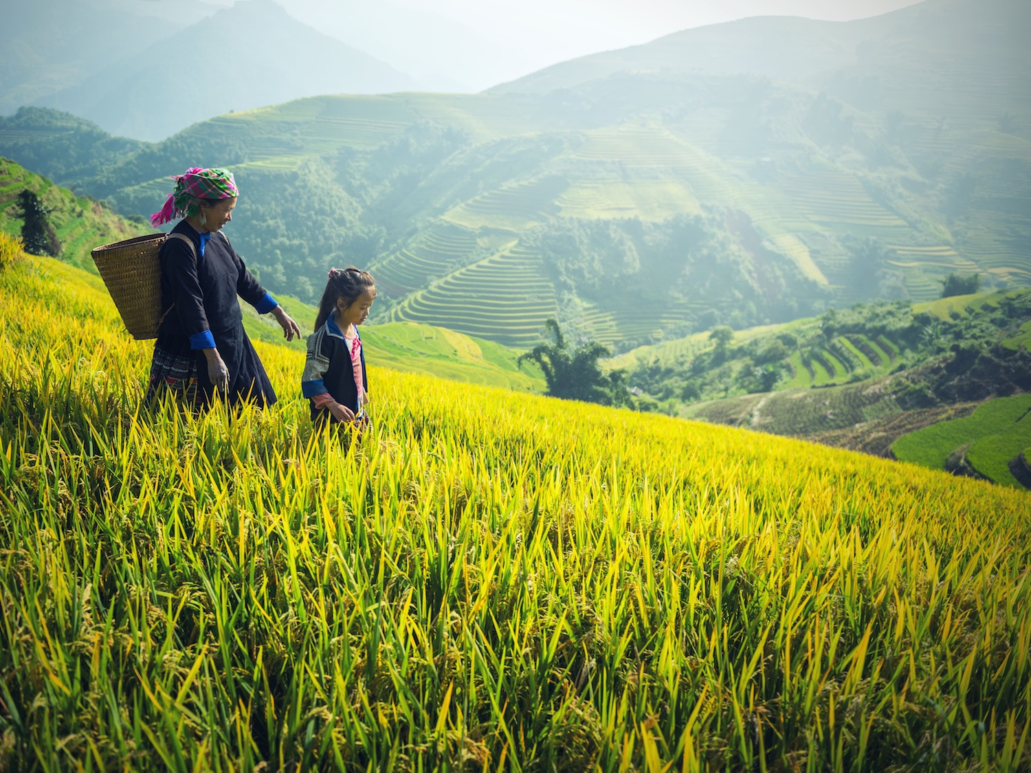 Mother and daughter in Ha Giang Vietnam